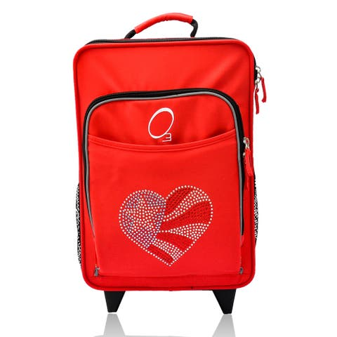 "Obersee Kids ""Flag Heart"" 16-inch Rolling Carry On Cooler Upright"