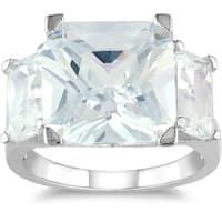 Miadora Sterling Silver 15ct TGW Emerald-cut Cubic Zirconia Fashion Ring