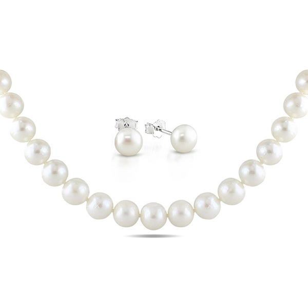Miadora Sterling Silver Cultured Freshwater Pearl Necklace and Earring Set (8-11 mm)