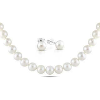M by Miadora Sterling Silver Cultured Freshwater Pearl Necklace and Earring Set (8-11 mm)