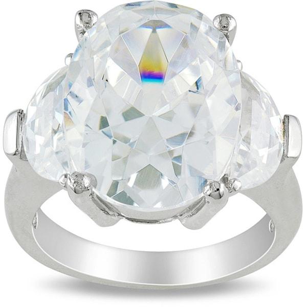 Miadora Sterling Silver 15 1/2ct TGW Cubic Zirconia 3-stone Ring