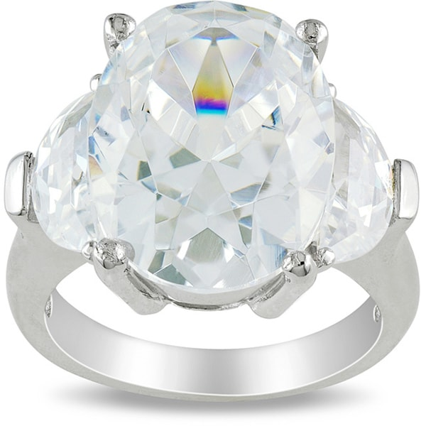 M by Miadora Sterling Silver 15 1/2ct TGW Cubic Zirconia 3-stone Ring