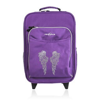 "O3 Kids ""Rhinestone Angel Wings"" 16-inch Rolling Carry On Cooler Upright"