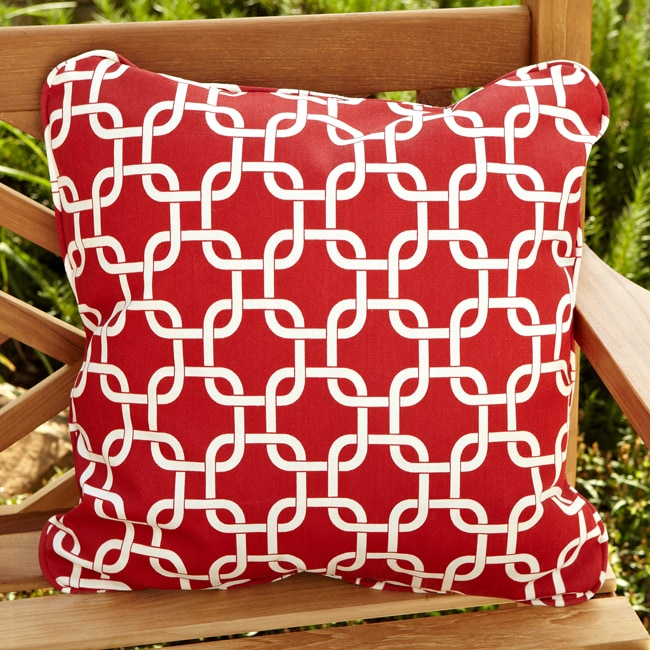Penelope Red 22 Inch Square Outdoor Pillow Set Of 2 Free