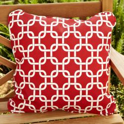 Penelope Red 18-inch Square Outdoor Pillow (Set of 2)