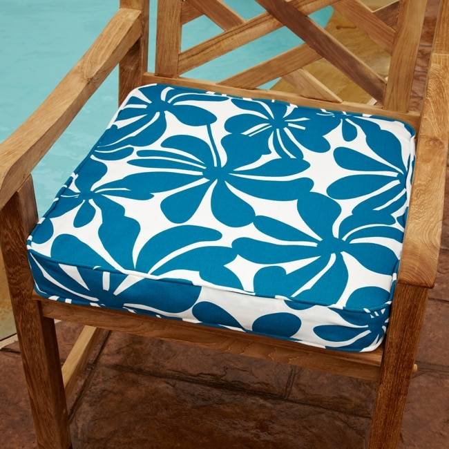 Penelope Blue/ White Floral 20-inch Square Outdoor Chair Cushion