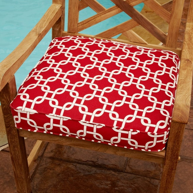 Penelope Red 19-Inch Square Geometric Outdoor Chair Cushion