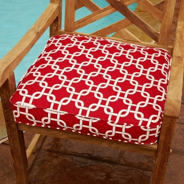 Shop Penelope Red 19 Inch Square Geometric Outdoor Chair Cushion