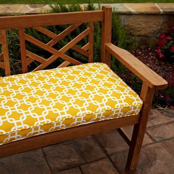 shop penelope yellow 48 inch outdoor bench cushion free shipping today 6694603. Black Bedroom Furniture Sets. Home Design Ideas