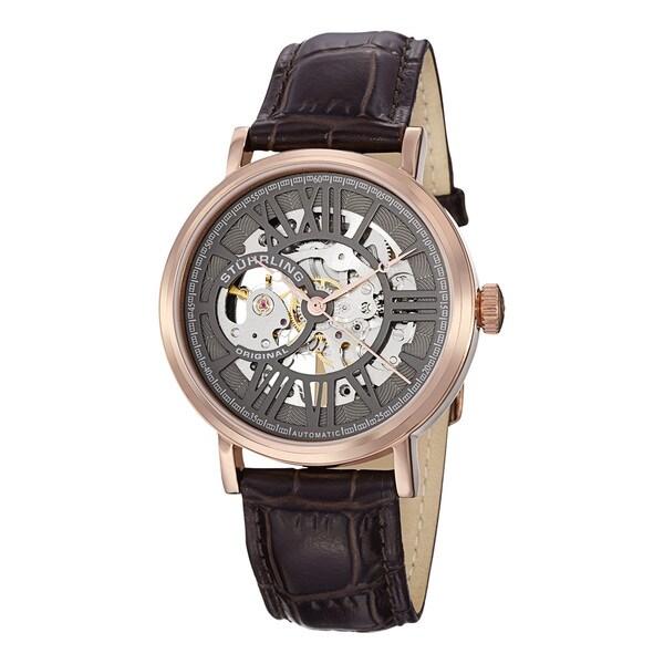 Stuhrling Original Men's Delphi Automatic Brown Leather Strap Watch