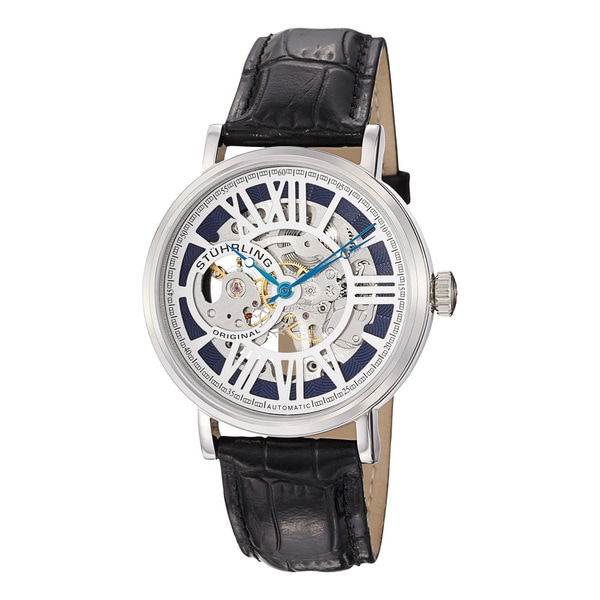 Stuhrling Original Men's Delphi Automatic Black Leather Strap Watch