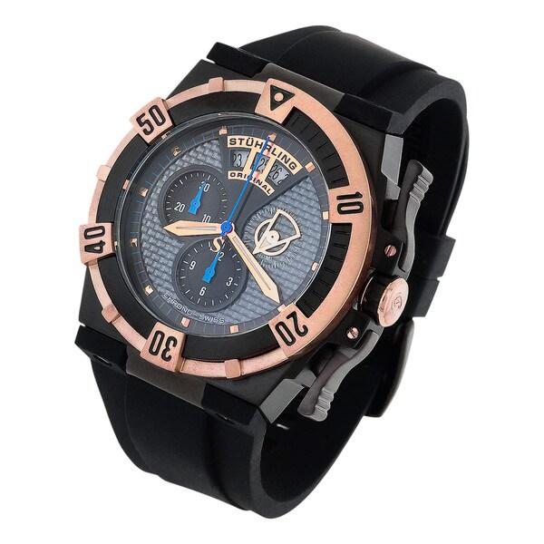 Stuhrling Original Men's Midnight Falcon Chrornograph Black Rubber Strap Watch