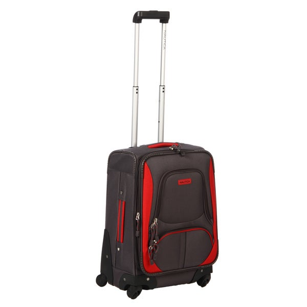 Nautica Downhaul Grey / Red 20-inch Expandable Carry-on Spinner Upright
