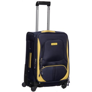Nautica Downhaul Navy/ Yellow 20-inch Carry On Spinner Upright
