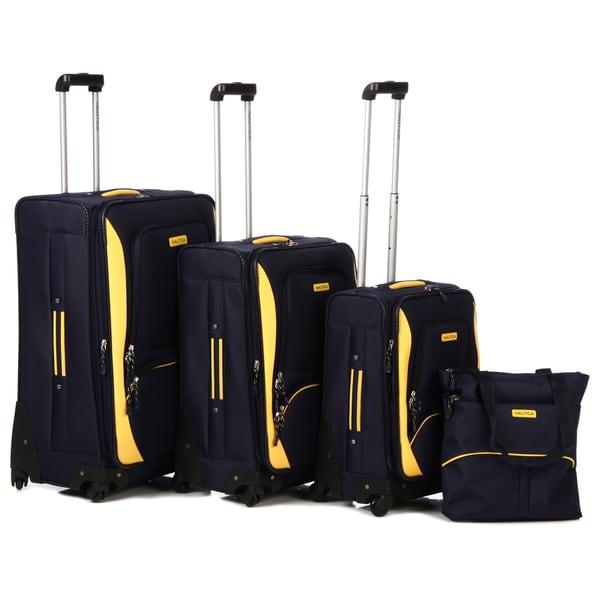 Nautica Downhaul Navy/ Lighthouse Yellow 4-piece Luggage Set