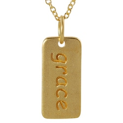 Journee Collection  Gold over Silver 'Grace' Tag Necklace