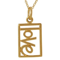 Journee Collection Gold over Silver Cut-out 'Love' Tag Necklace