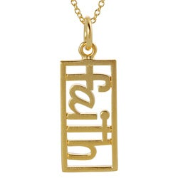 Journee Collection  Gold over Silver Cut-out 'Faith' Tag Necklace