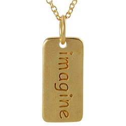 Journee Collection  Gold over Silver 'Imagine' Tag Necklace