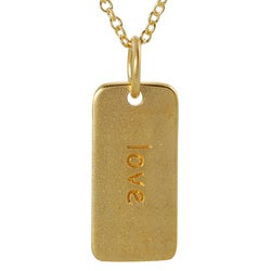 Journee Collection  Gold over Silver 'Love' Tag Necklace