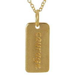 Journee Collection  Gold over Silver 'Courage' Tag Necklace