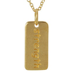 Journee Collection  Gold over Silver 'Strength' Tag Necklace