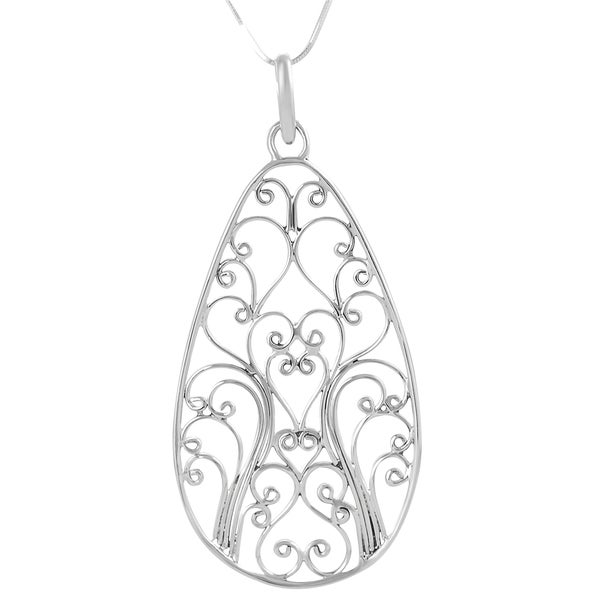 Journee Collection  Sterling-silver Balinese Filigree Necklace with Snake Chain