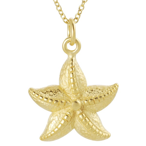 Journee Collection  18-inch Satin Gold-over-silver Starfish Pendant Necklace