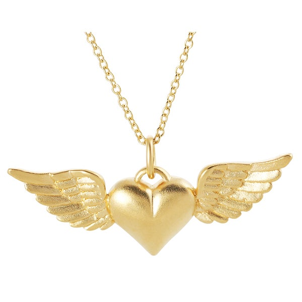 Journee Collection  24k Gold over Silver Winged Heart Satin Pendant Necklace