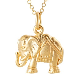 Journee Collection Satin-finish Gold-over-silver Indian Elephant Pendant Necklace