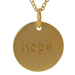 Journee Collection  Gold over Silver 'Hope' Disc Necklace