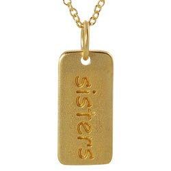 Journee Collection  Gold over Silver 'Sisters' Tag Necklace