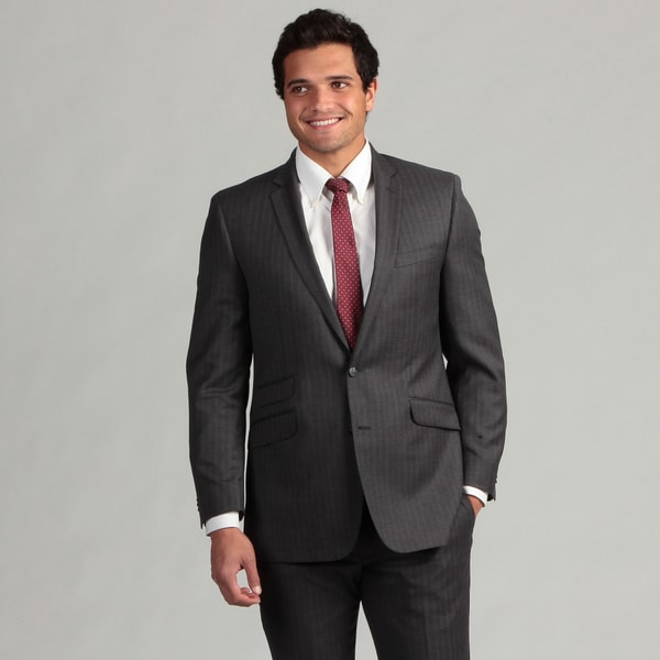 Ben Sherman Men's Grey Stripe 2-button Wool Slim Fit Suit