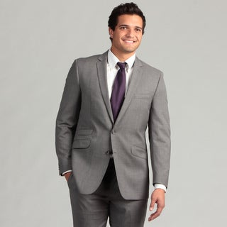 Ben Sherman Men's Light Grey Striped Slim Fit Wool Suit