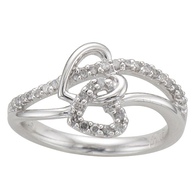 Unending Love Sterling Silver 1/5ct TDW Diamond Double Heart Ring (I-J, I2-I3) - Thumbnail 0