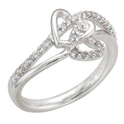 Unending Love Sterling Silver 1/5ct TDW Diamond Double Heart Ring (I-J, I2-I3) - Thumbnail 1