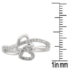 Unending Love Sterling Silver 1/5ct TDW Diamond Double Heart Ring (I-J, I2-I3) - Thumbnail 2
