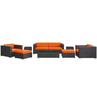 Venice Outdoor Rattan Espresso with Orange Cushions 8-piece Set