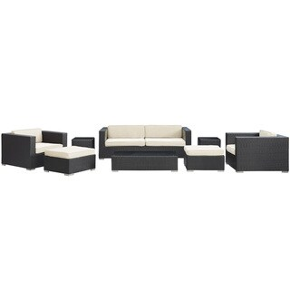 Venice Outdoor Rattan Espresso with White Cushions 8-piece Set