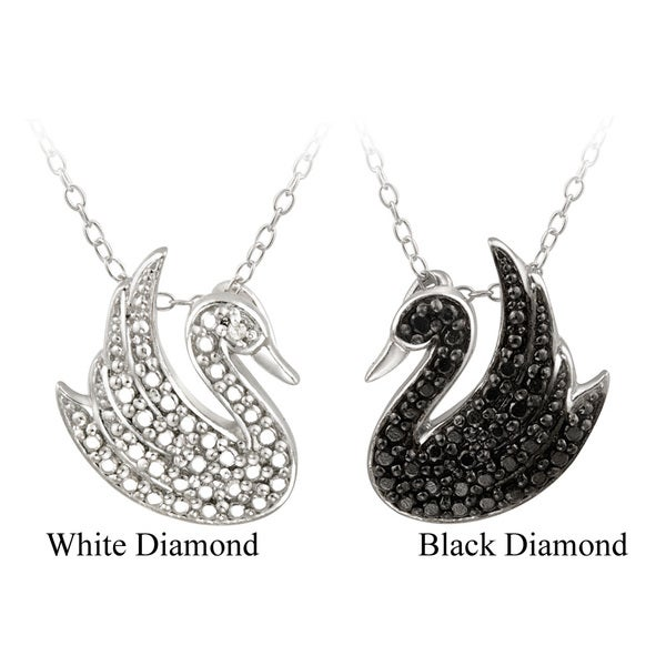 DB Designs Sterling Silver Diamond Accent Swan Necklace. Opens flyout.