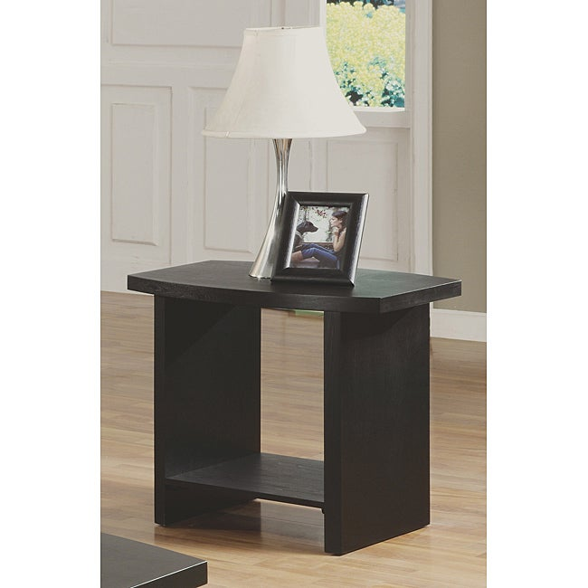 Black Wood Veneer End Table