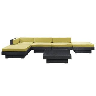 Laguna Outdoor Rattan 6-piece Set in Espresso with Peridot Cushions