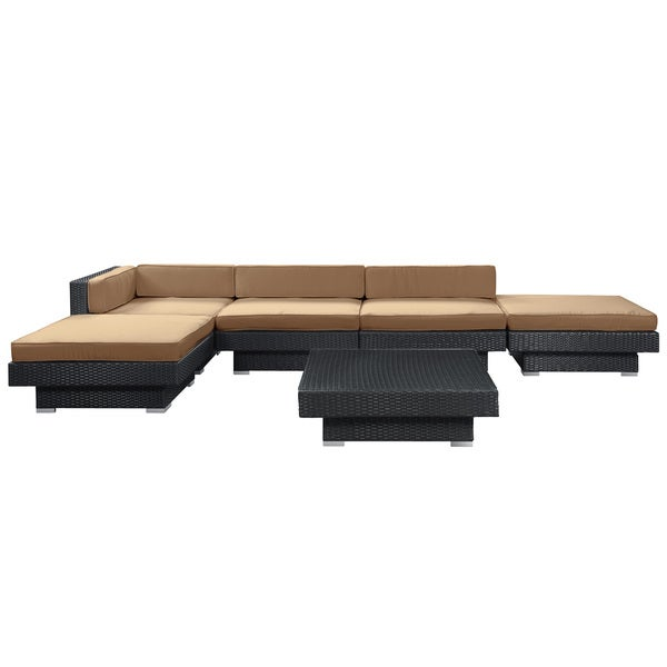 Laguna Outdoor Rattan 6-piece Set in Espresso with Mocha Cushions