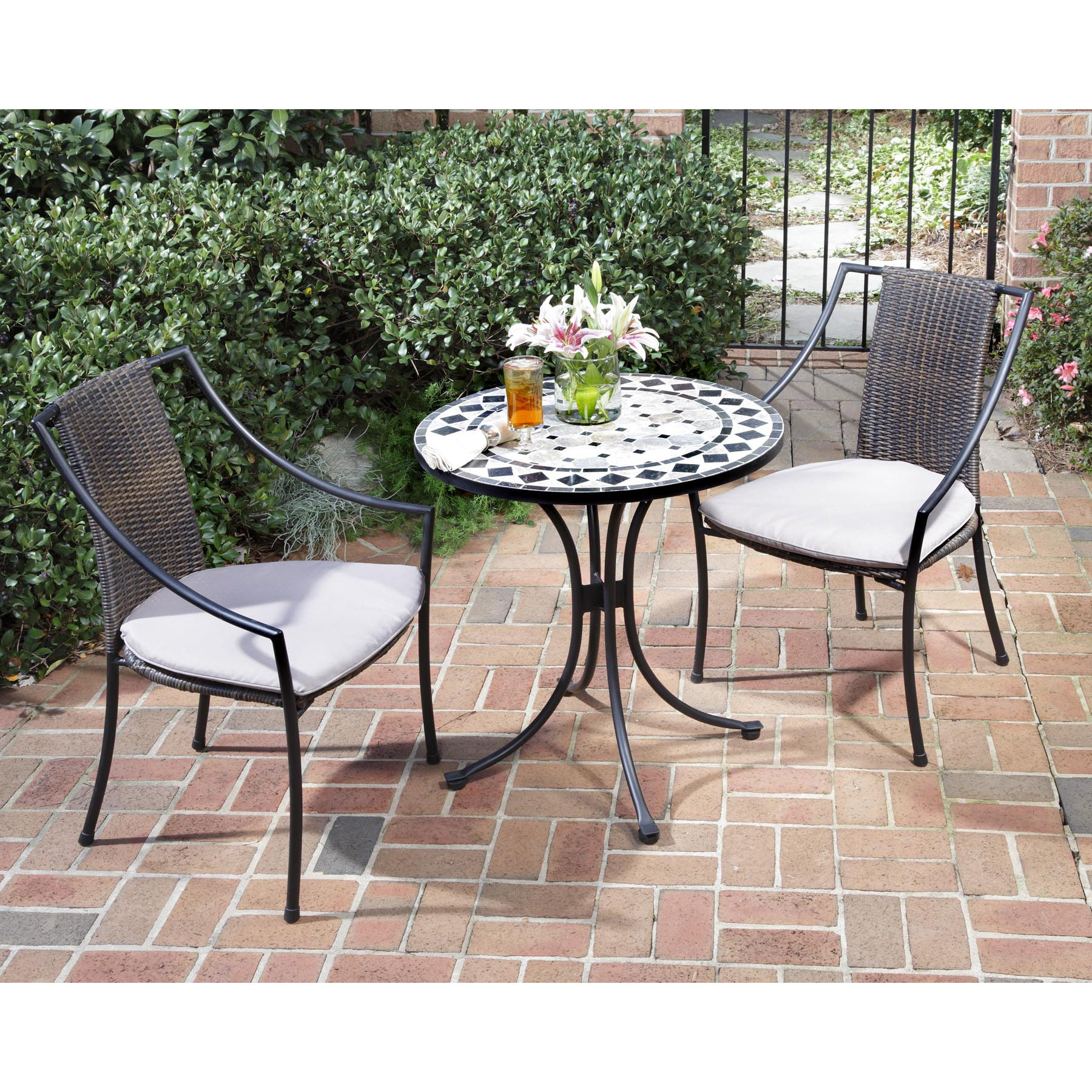 Black and Tan 3-piece Tile Top Bistro Set by Home Styles ...