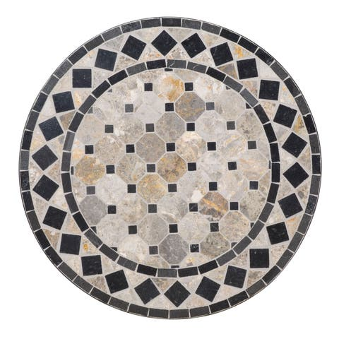 Tan/Black Marble Tile Top Bistro Table by Home Styles