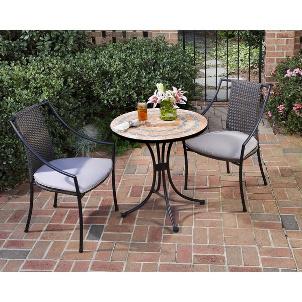 Terra Cotta Sandstone Tile Top Bistro Table By Home Styles   Free Shipping  Today   Overstock.com   14248505