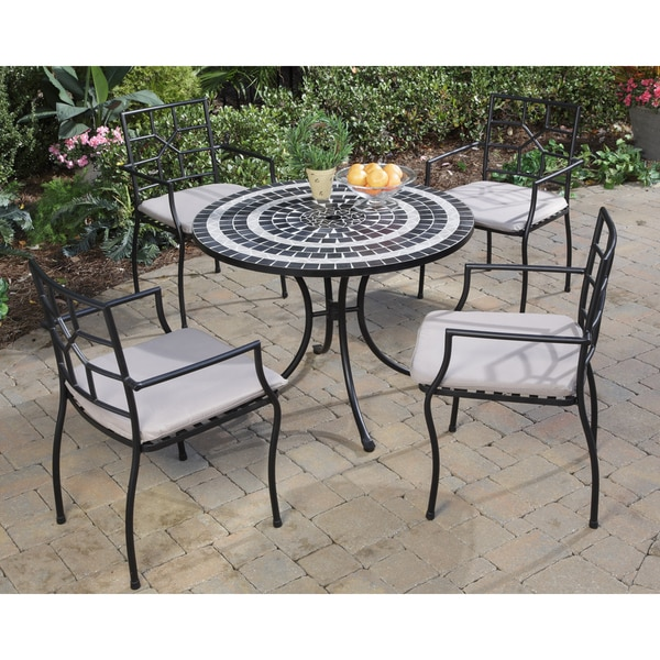 Safavieh Outdoor Living Cooley Black White Dining Set 5: Delmar Black And Grey Tile Top 5-piece Dining Set