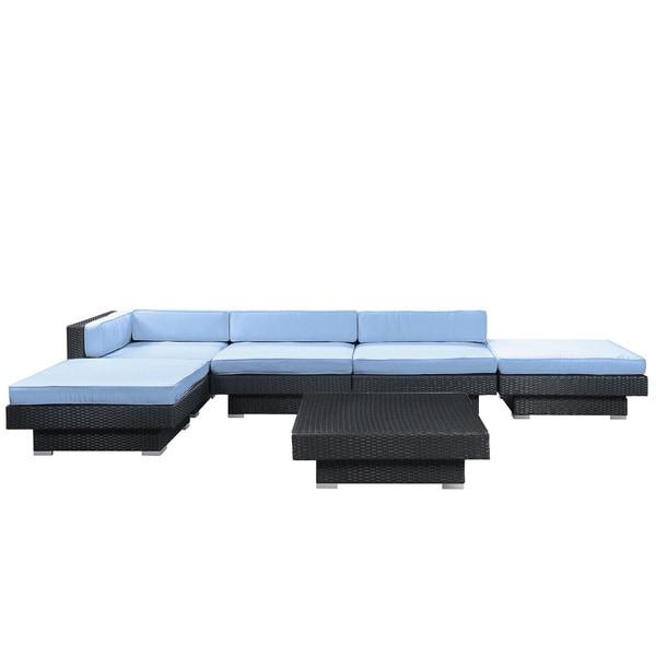 Laguna Outdoor Rattan 6-piece Set in Espresso with Light Blue Cushions