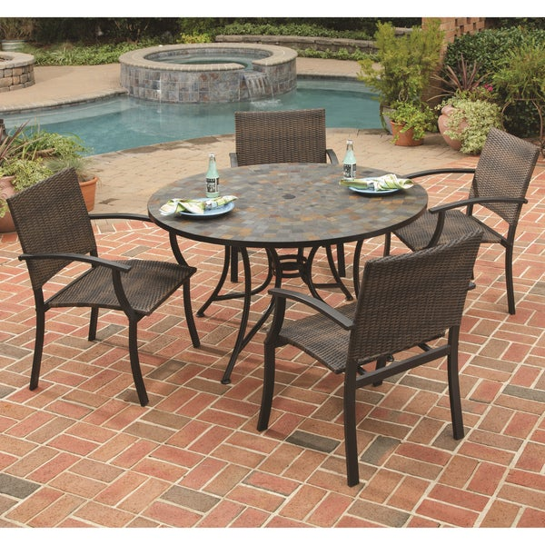 Home Styles Stone Harbor Table and Newport Arm Chair 5-piece Dining Set