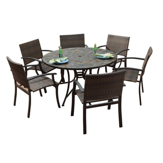 Stone Harbor Large Round Dining Table and Newport Arm Chairs 7-piece Outdoor Dining Set by Home Styles